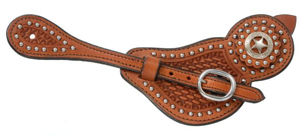 Royal King Ladies Lined Cowhide Spur Straps with Basket Tooling & Dots