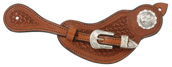 Royal King Mens Lined Cowhide Spur Straps with Basket Stamp Tooling