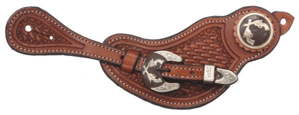 Premium Leather Basketweave Spur Straps with Double Pistol Hardware