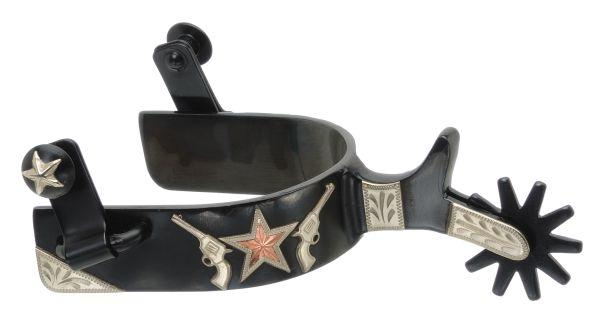 Kelly Silver Star Spur with Gun/Star Design
