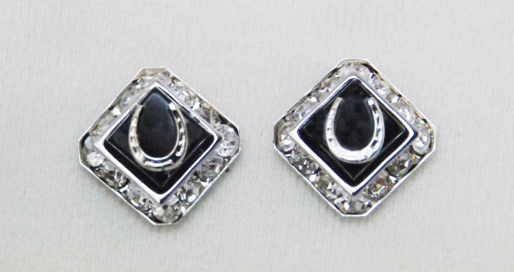 Finishing Touch Square Rondell Earrings with Horseshoe - Black Onyx