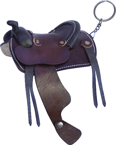 Sleek Leather Minature Western Saddle