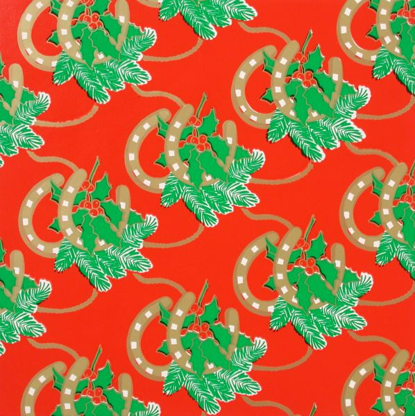 Horseshoes/Holly Red Gift Wrap