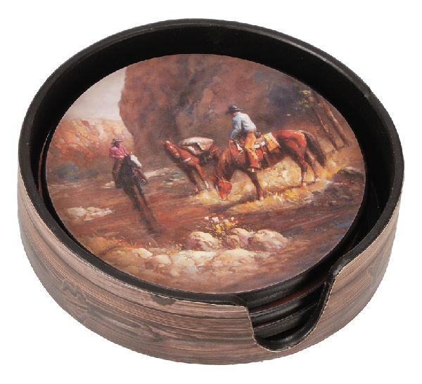 Gift Corral Coaster Set 4Pc Horse Creek