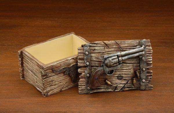 Pistol and Wood Trinket Box