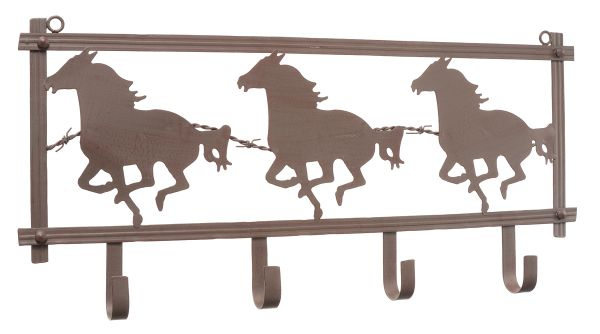 Gift Corral Horses and Barbwire Wall Rack