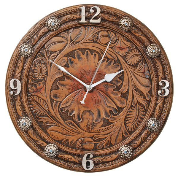 Gift Corral Floral Tooled Wall Clock