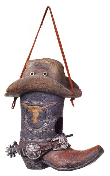 Gift Corral Birdhouse Grey Boot With Hat