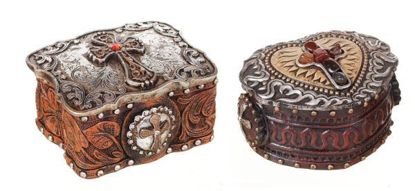 Gift Corral Western Box with Cross - Set of 2
