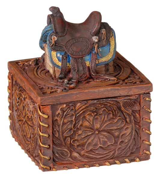 Gift Corral Western Saddle Trinket Box
