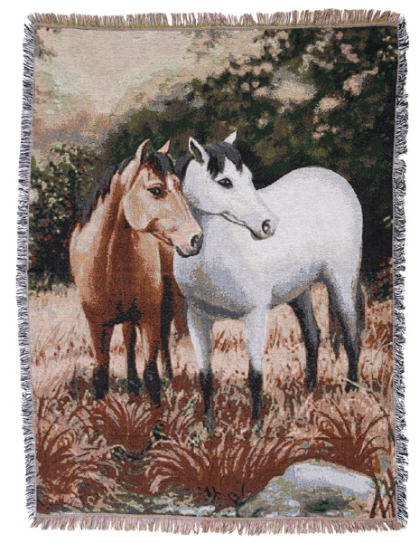 Gift Corral 2 Horses Throw