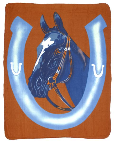 Polar Fleece Blue Horseshoe Blanket