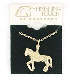 Finishing Touch Finishing Touch 3D Dressage With Rider Necklace- Gold