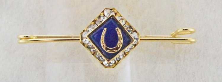 Finishing Touch Square Rondelle Stone & Horseshoe Stock Pin - Blue Onyx