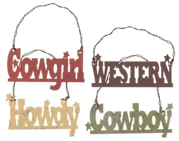 Gift Corral Western Word Ornaments - Set of 4