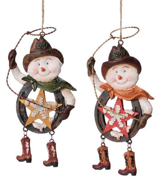 Gift Corral Snowman Cowboy Horseshoe Ornament