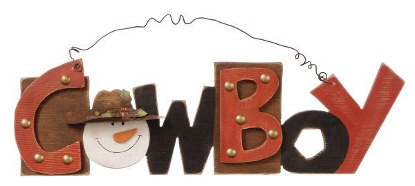 Cowboy Snowman Sign