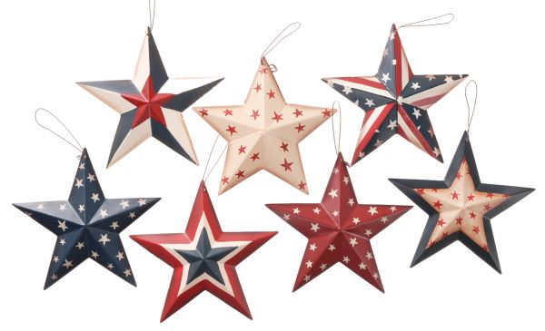 Gift Corral Patriotic Metal Star Ornaments