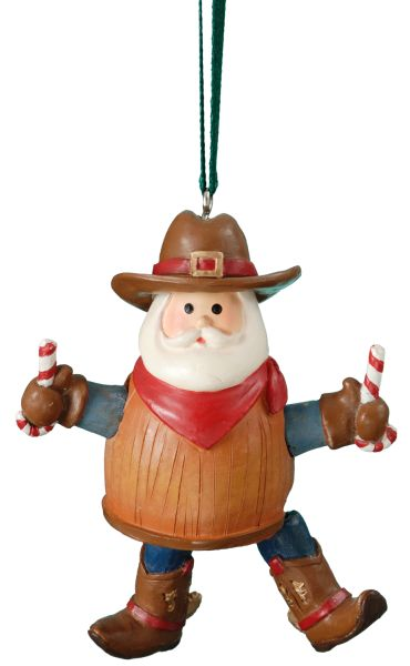 Barrel Santa Cowboy Ornament