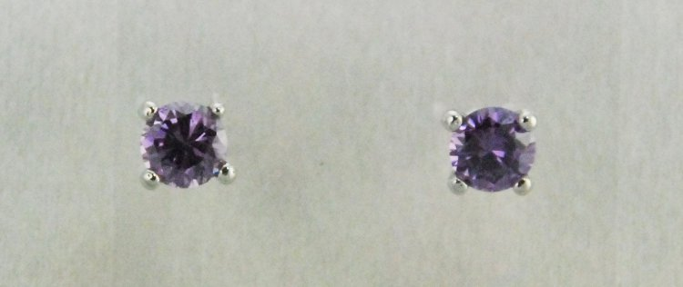 Finishing Touch Amethyst 6.5 mm CZ Stud Earrings