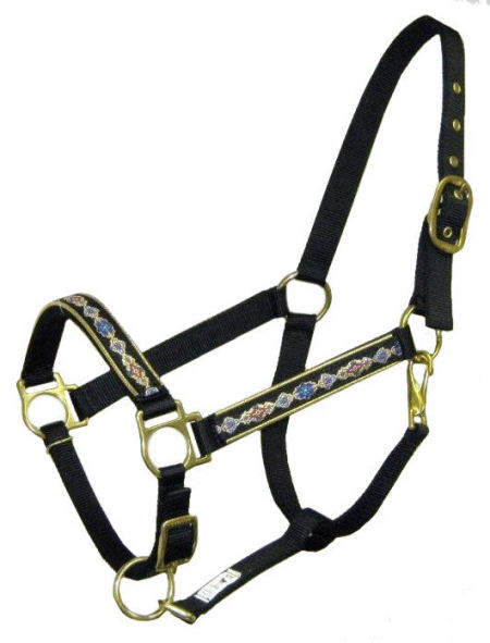 Ronmar Nylon Halter - Leather Crown/Double Buckle - Brocade