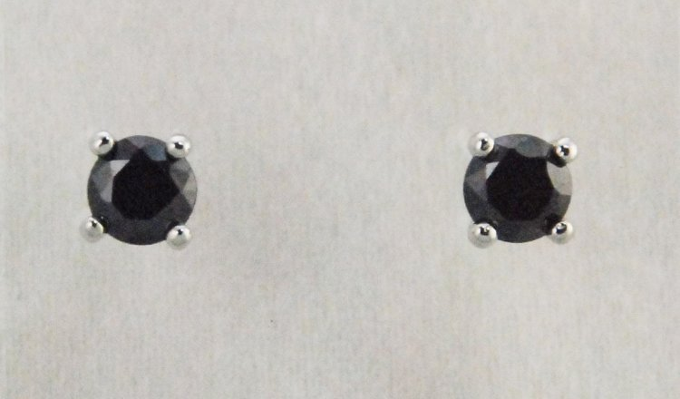 Finishing Touch 6.5 mm CZ Stud Earrings - Black