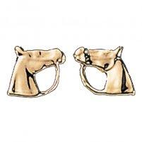 Exselle Horse Head Gold Earrings