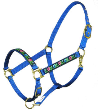Ronmar Nylon Halter - Leather Crown/Double Buckle - Blue/Rose Flowers