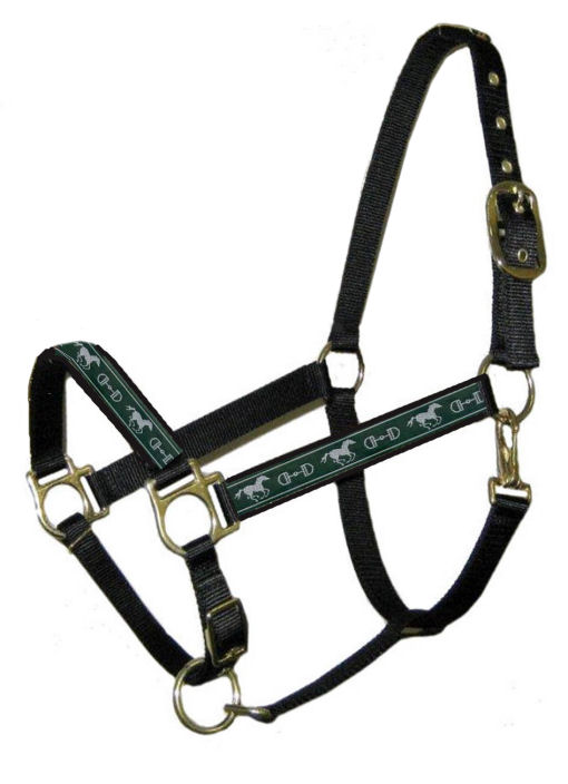 Ronmar Nylon Halter - Leather Crown/Double Buckle - Silver Bit & Horse Green