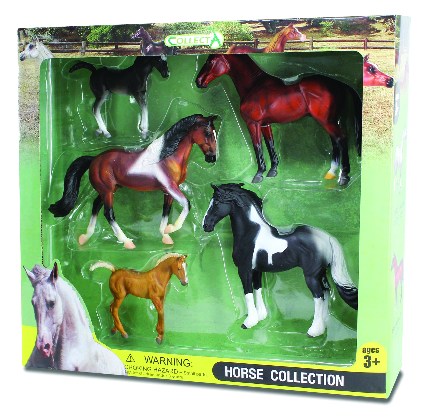 CollectA 5pc Box Set - 2 Pinto Horses, Bay Horse, Black Foal & Chestnut Foal