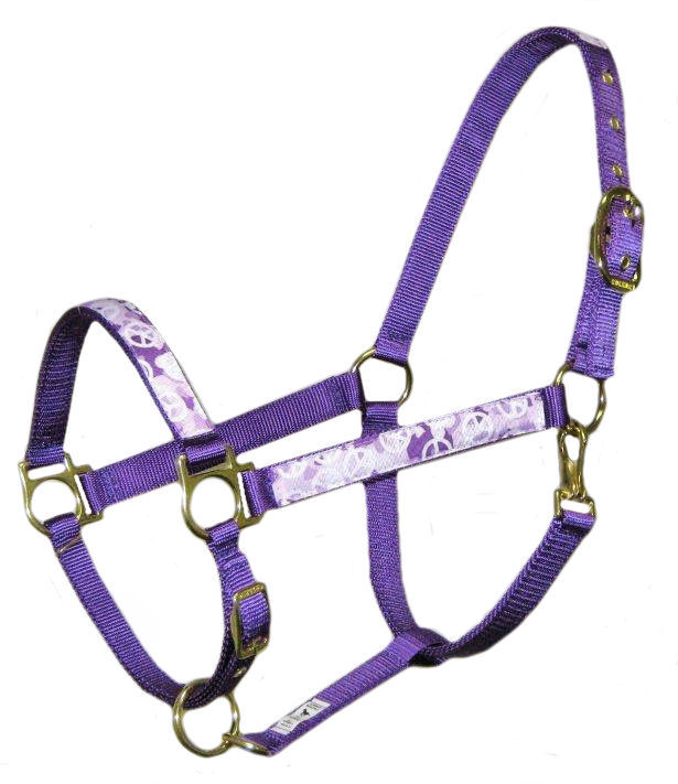 Ronmar Nylon Halter - Leather Crown/Double Buckle - Camouflage Peace Signs - Purple