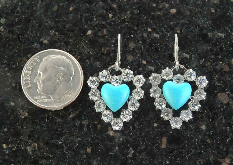 Finishing Touch Heart Shaped Swarovski Crystal & Turquoise Earrings - Euro Wire