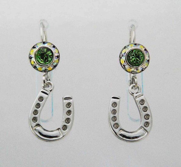 Finishing Touch Rondelle Earrings with Horseshoe Charm - Euro Wire - Green