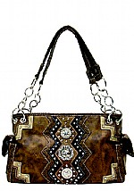 Handbag With Embossed, Studded Trim