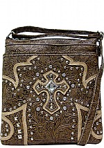 Embossed Print Messenger Bag