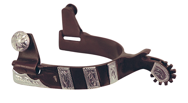 Direct Equine Mens Spur Antique Brown with Silver Bar Overlay