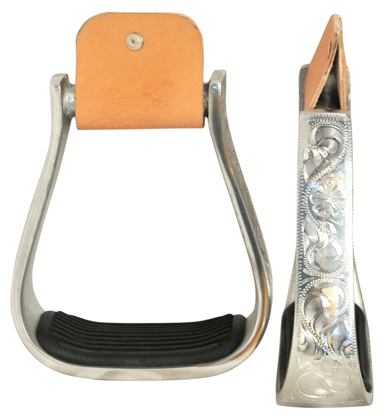 Direct Equine Lightweight Aluminum Stirrups with Black Pads
