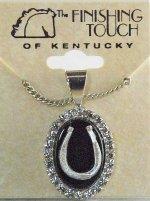 Finishing Touch Oval Crystal Stone Necklace - Black Onyx Stone & Horseshoe
