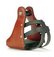 E-Z Ride Aluminum Stirrups with Leather Cover and Nylon Safety Cage