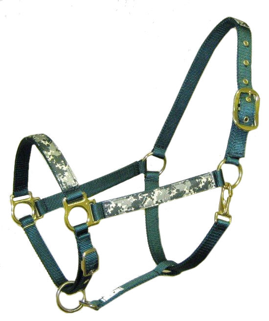 Ronmar Nylon Halter - Leather Crown/Double Buckle - Green Camouflage