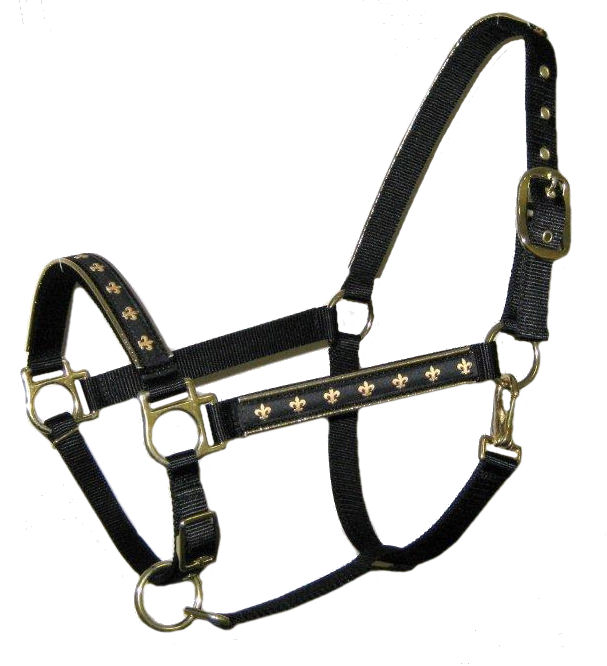Ronmar Nylon Halter - Leather Crown/Double Buckle - Fleur De Lis