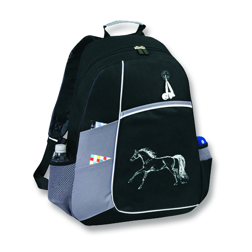 Horse Backpack, Black & Grey