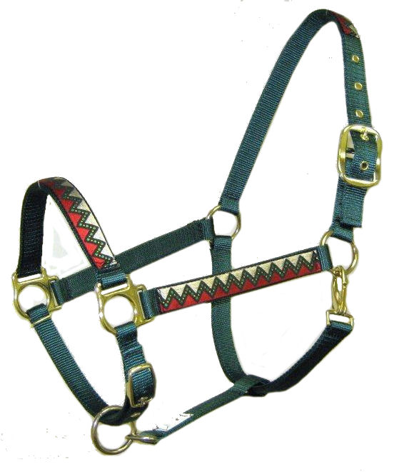 Ronmar Nylon Halter - Leather Crown/Double Buckle - Cheers
