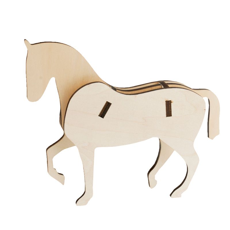 HorZe Wooden Horse Silhouette Dessage Style