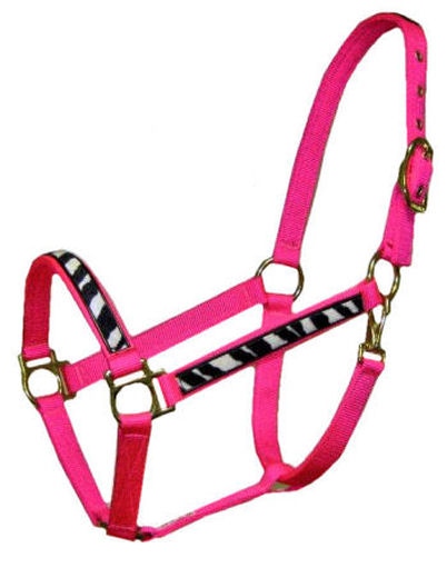 Ronmar Nylon Halter - Leather Crown/Double Buckle - Zebra