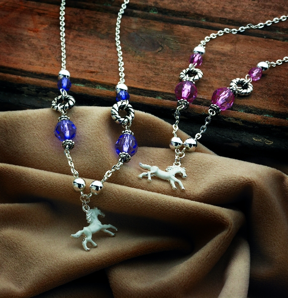 White Horse Necklace with Charms