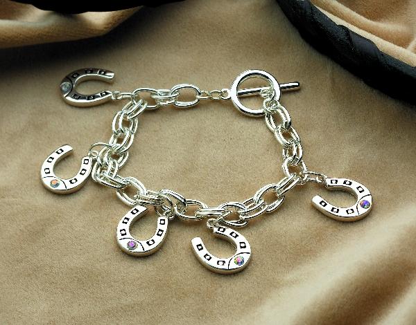 Horseshoe Charm Bracelet with Rhinestones