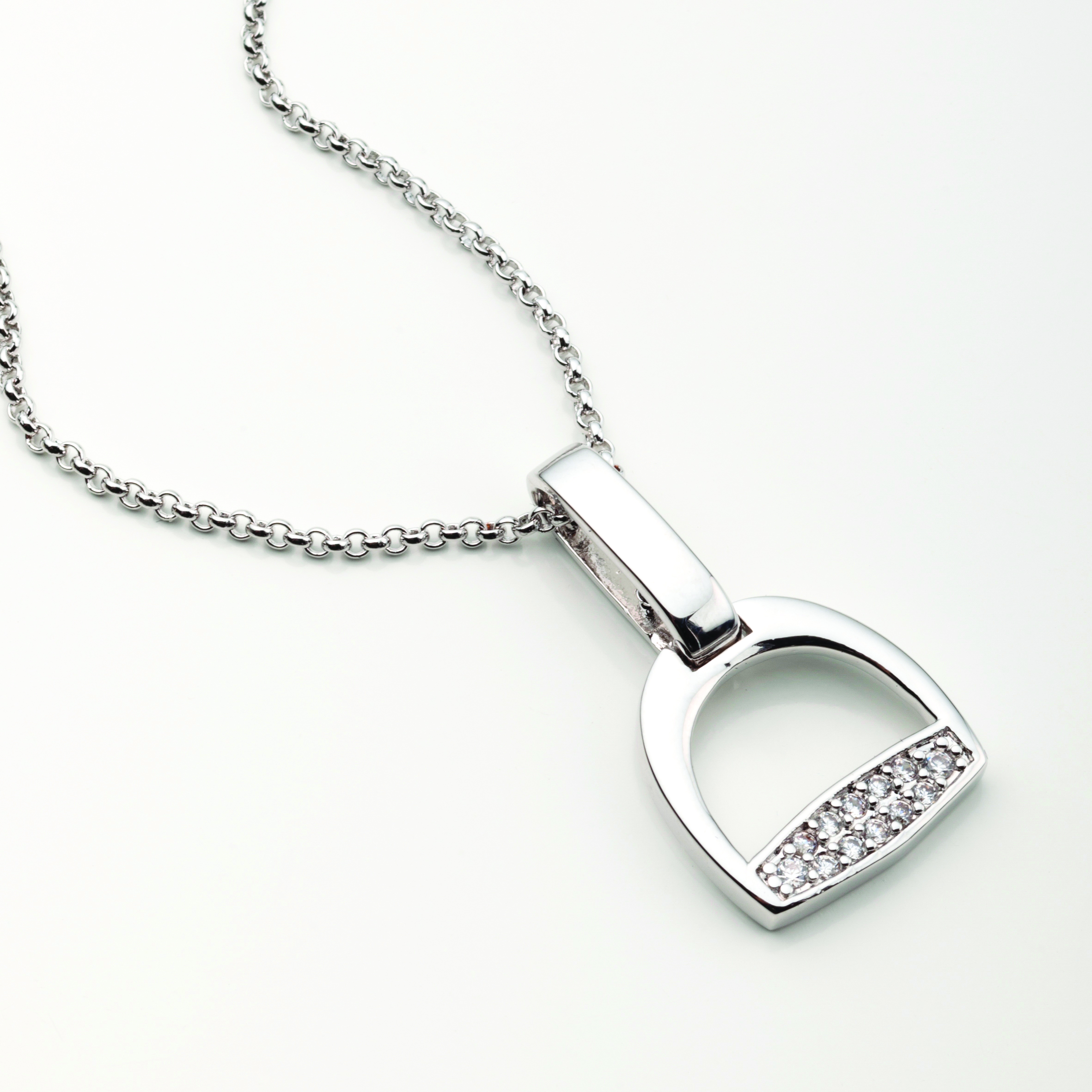 Stirrup with Clear CZ Rhinestones Necklace
