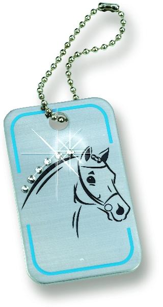 Horse Tag Keychain with Rhinestones