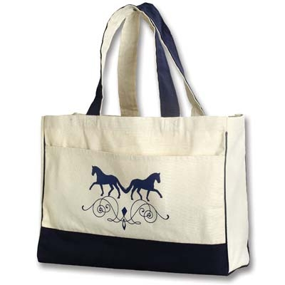 Dressage Canvas Tote with Front Pocket